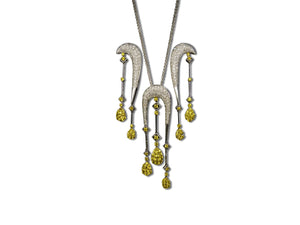 Diamond and Yellow Sapphire Necklace and Earrings set in 18kt White Gold