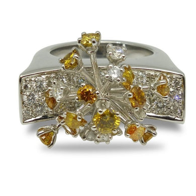 18kt White Gold Yellow & White Diamond Ring