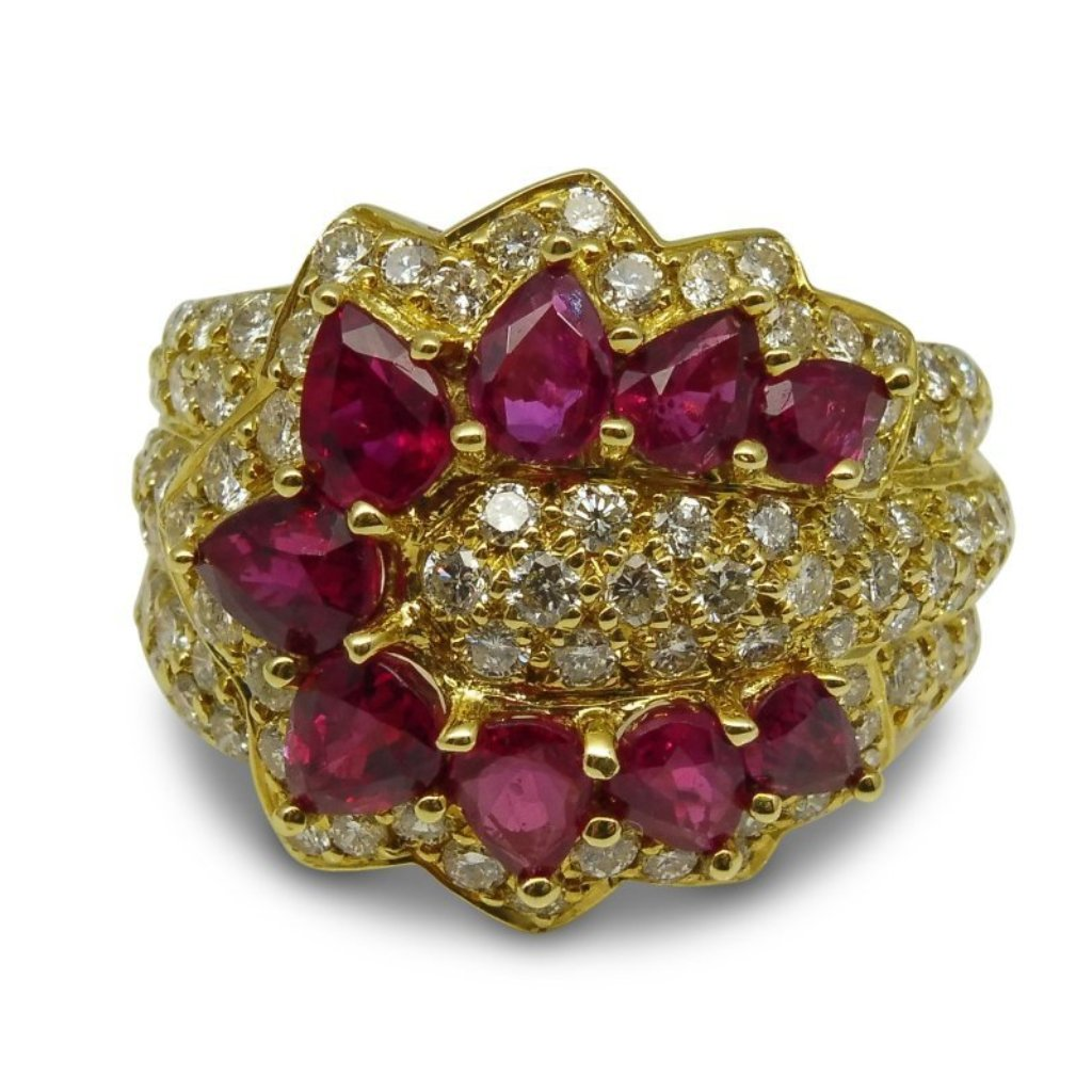 18kt Yellow Gold, Ruby & Diamond Ring GS Laboratories Certified