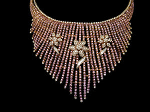 18kt Rose Gold, Pink Sapphire & Diamond Flower Necklace