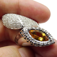 18kt White Gold, Citrine & Diamond Ring GS Laboratories Certified