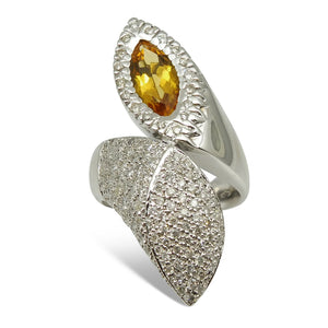 18kt White Gold, Citrine & Diamond Ring