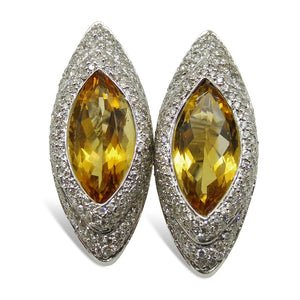 18kt White Gold, Citrine Diamond Earrings
