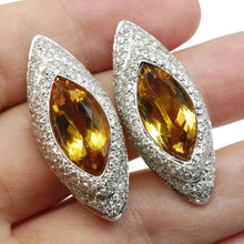18kt White Gold, Citrine & Diamond Earrings - GS Laboratories Certified