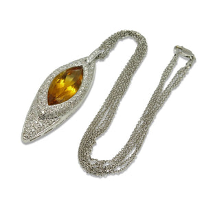 18kt White Gold, Citrine & Diamond Necklace