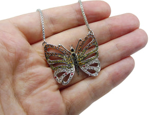 18kt White Gold, Sapphire & Diamond Butterfly Necklace