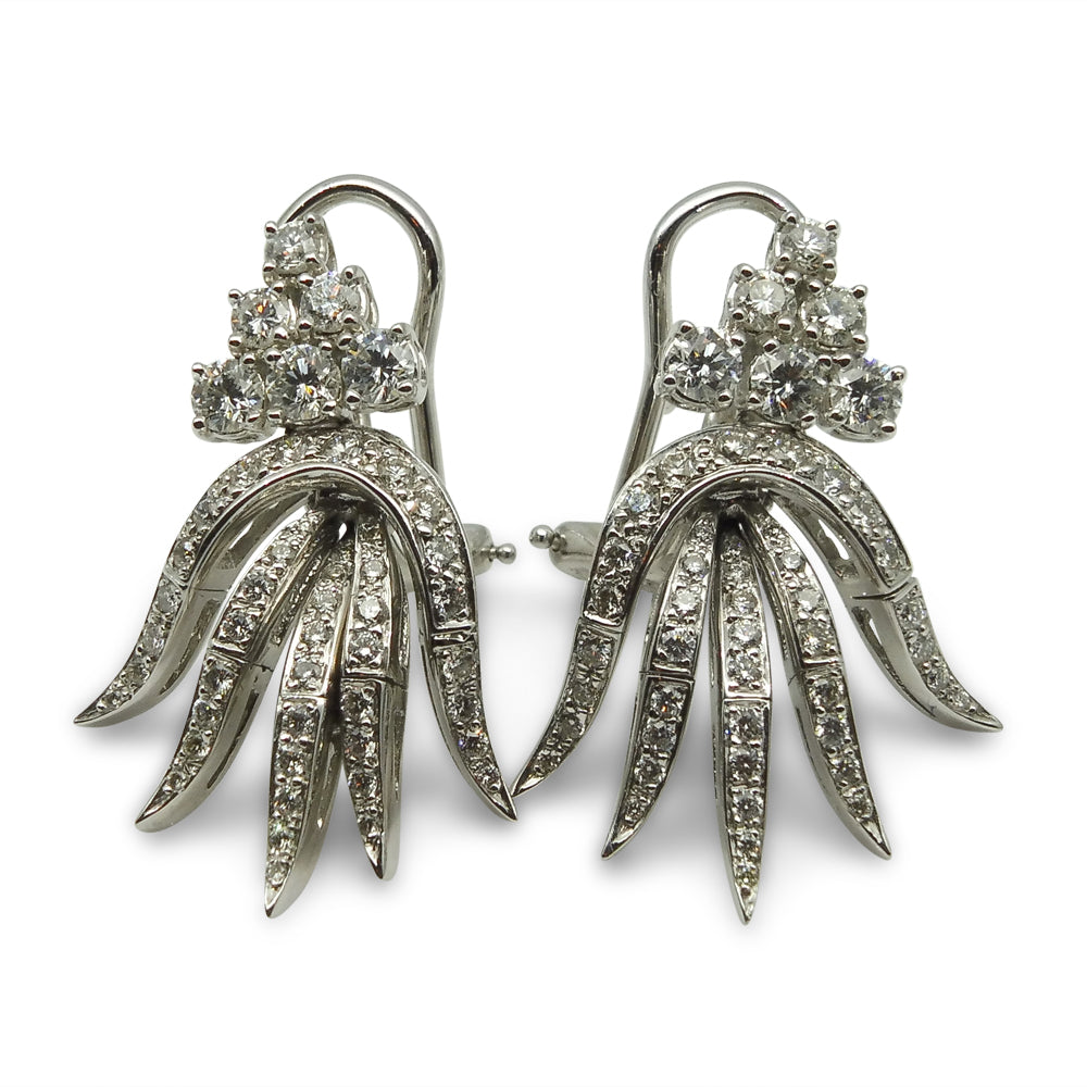 18kt White Gold, 0.99 ct. twt Diamond Earrings with Omega Backs GS Laboratories Certified
