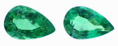 0.60 ct Pair Pear Cut Natural Emerald - Skyjems Gemstones Gems