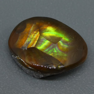 Mexican Fire Agate 5.89cts 14.01x9.99x5.43mm Freeform Reddish-brown base, with flashes of orange, red, green and gold $60