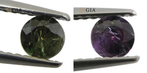 0.35ct Round Bluish Green to Reddish Purple Alexandrite GIA Certified Russian - Skyjems Wholesale Gemstones