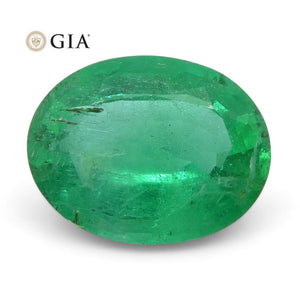 1.71 ct Oval Emerald GIA Certified Zambian F1/Minor - Skyjems Wholesale Gemstones
