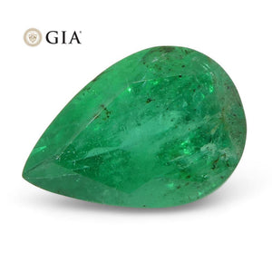 1.23 ct Pear Emerald GIA Certified Zambian F1/Minor
