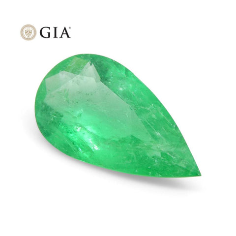 1.25 ct Pear Emerald GIA Certified Colombian F1/Minor