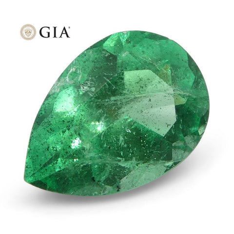 1.19 ct Pear Emerald GIA Certified Colombian F1/Minor
