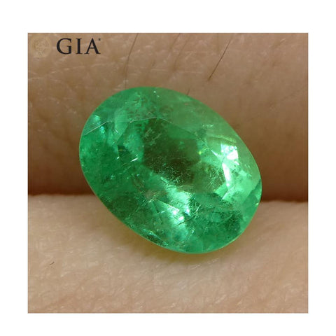1.1 ct Oval Emerald GIA Certified Colombian F1/Minor