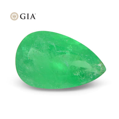 4.22 ct Pear Emerald GIA Certified Colombian F1/Minor