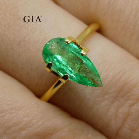 1.28 ct Pear Emerald GIA Certified Colombian F1/Minor