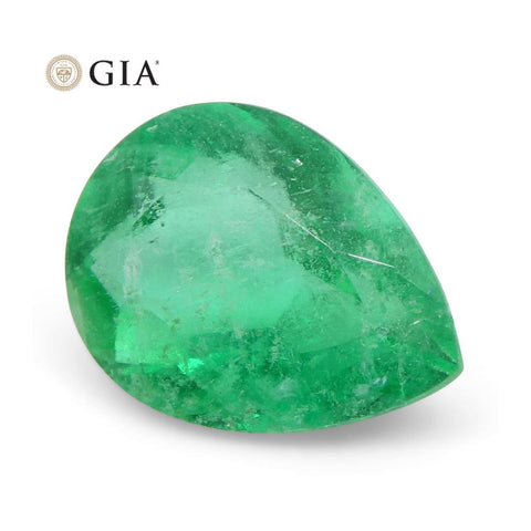 1.6 ct Pear Emerald GIA Certified Colombian F1/Minor