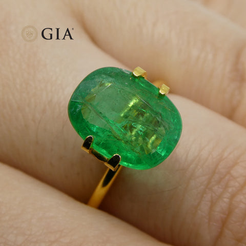 3.69 ct Cushion Emerald GIA Certified