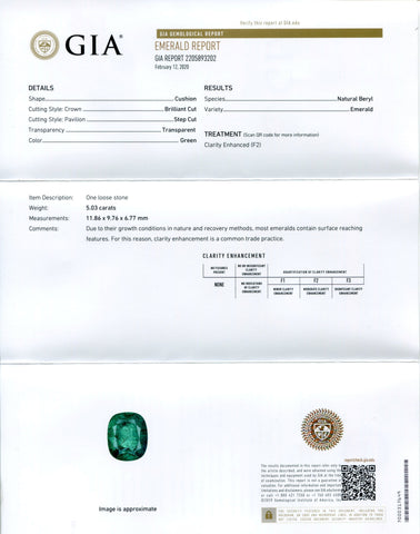 5.03 ct Cushion Emerald GIA Certified