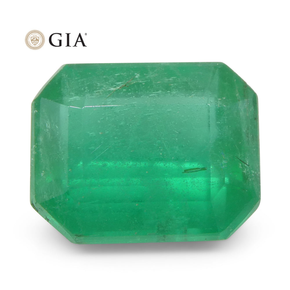 3.37ct Octagonal/Emerald Cut Emerald GIA Certified Zambian Untreated