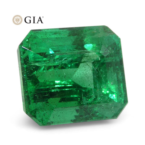 5.02ct Octagonal/Emerald Cut Vivid Intense Green Emerald GIA Certified Zambian