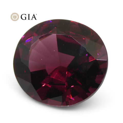 6.23ct Oval Vivid Raspberry Red Rhodolite Garnet GIA Certified