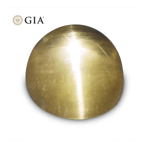 Cat's Eye Heliodor - 12.04 ct GIA Certified Oval Cabochon Golden Beryl - Skyjems Wholesale Gemstones