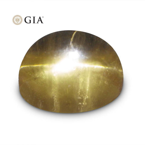Cat's Eye Heliodor - 12.04 ct GIA Certified Oval Cabochon Golden Beryl