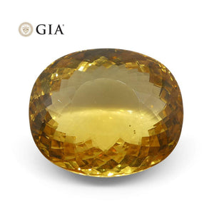 17.72 ct Cushion Golden Beryl GIA Certified Heliodor - Skyjems Wholesale Gemstones