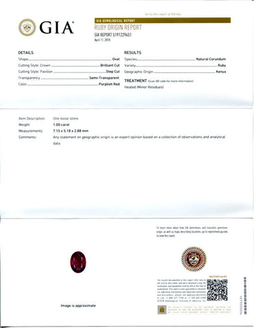 1 ct Oval Ruby GIA Certified