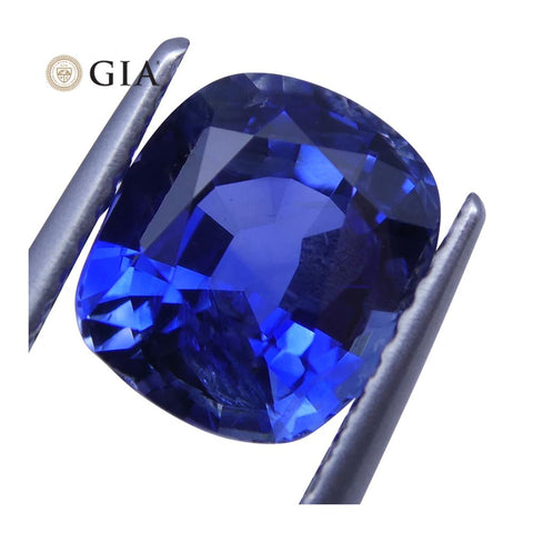 3.54ct Blue Sapphire Cushion GIA Certified Unheated