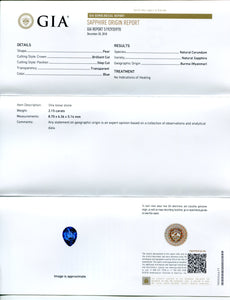 2.15 ct Blue Sapphire Pear GIA Certified Unheated, Burmese