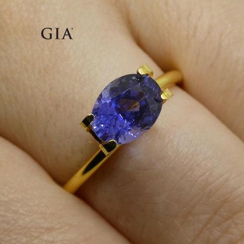 1.69ct Color Change Sapphire Oval GIA Certified Unheated, Sri Lanka, Vivid Violetish Blue to Purple