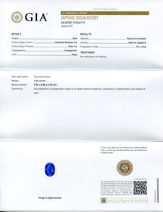 3.33 ct Blue Sapphire Oval GIA Certified Unheated, Sri Lanka