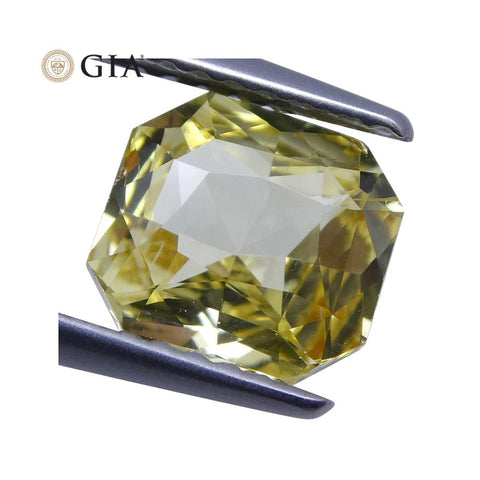 1.73 ct Yellow Sapphire Octagonal GIA Certified Unheated, Sri Lanka