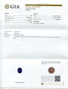 1.29 ct Blue Sapphire Oval GIA Certified Unheated