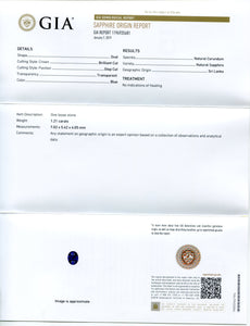 1.21 ct Blue Sapphire Oval GIA Certified Unheated, Sri Lanka
