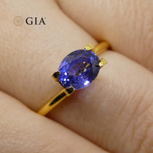 1.40 ct Color Change Sapphire Oval GIA Certified Unheated, Sri Lanka