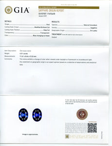 Color Change Sapphire 4.51 cts 11.61x8.44x5.32mm Oval Blue changing to Violet  $11250