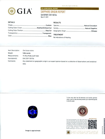 Royal Blue Sapphire 5.86ct Cushion GIA Certified Ethiopian Unheated with Inscription
