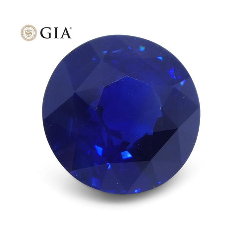 Royal Blue Sapphire, 3.70ct Round GIA Certified Ethiopian Unheated with Inscription