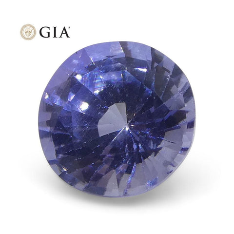 1.12 ct Round Violetish Blue Sapphire GIA Certified Sri Lankan Unheated