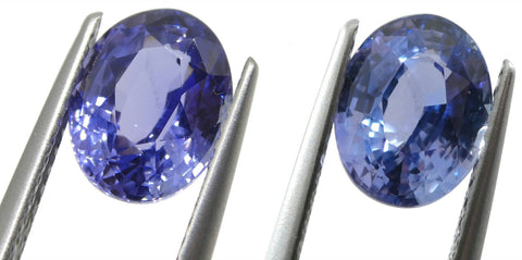 2.50ct Oval Color Change Sapphire GIA Certified Unheated Sri Lanka, Violetish Blue to Purple