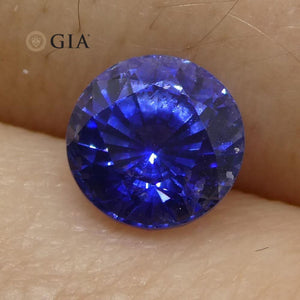Vivid Cornflower Blue 1.33ct Round Sapphire GIA Certified Sri Lanka - Skyjems Wholesale Gemstones