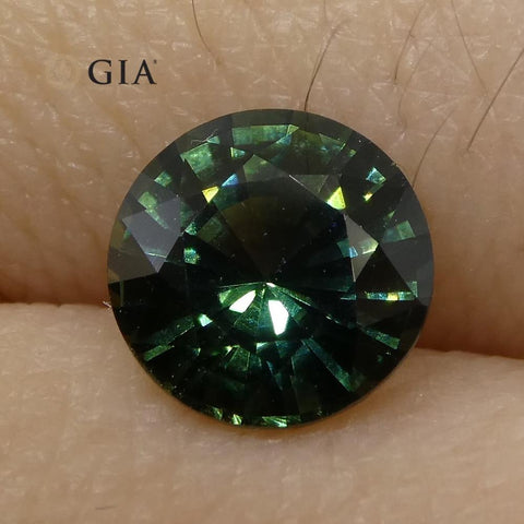 1.12ct Round Teal Blue Sapphire GIA Certified Unheated