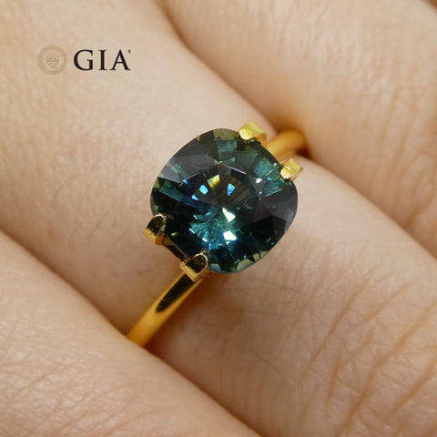 2.75ct Cushion Teal Blue Sapphire GIA Certified Australian