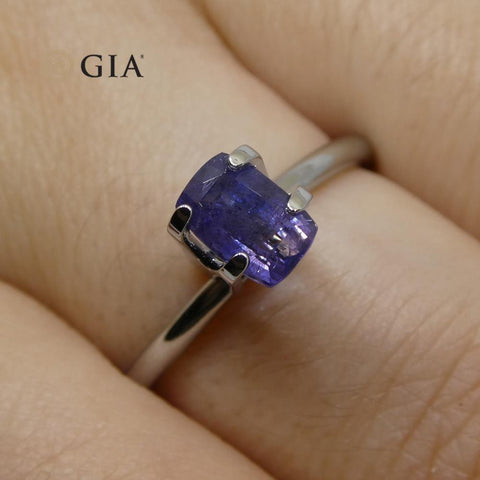 1.03ct Cushion Violetish Blue Sapphire GIA Certified Pakistan / Kashmir Unheated