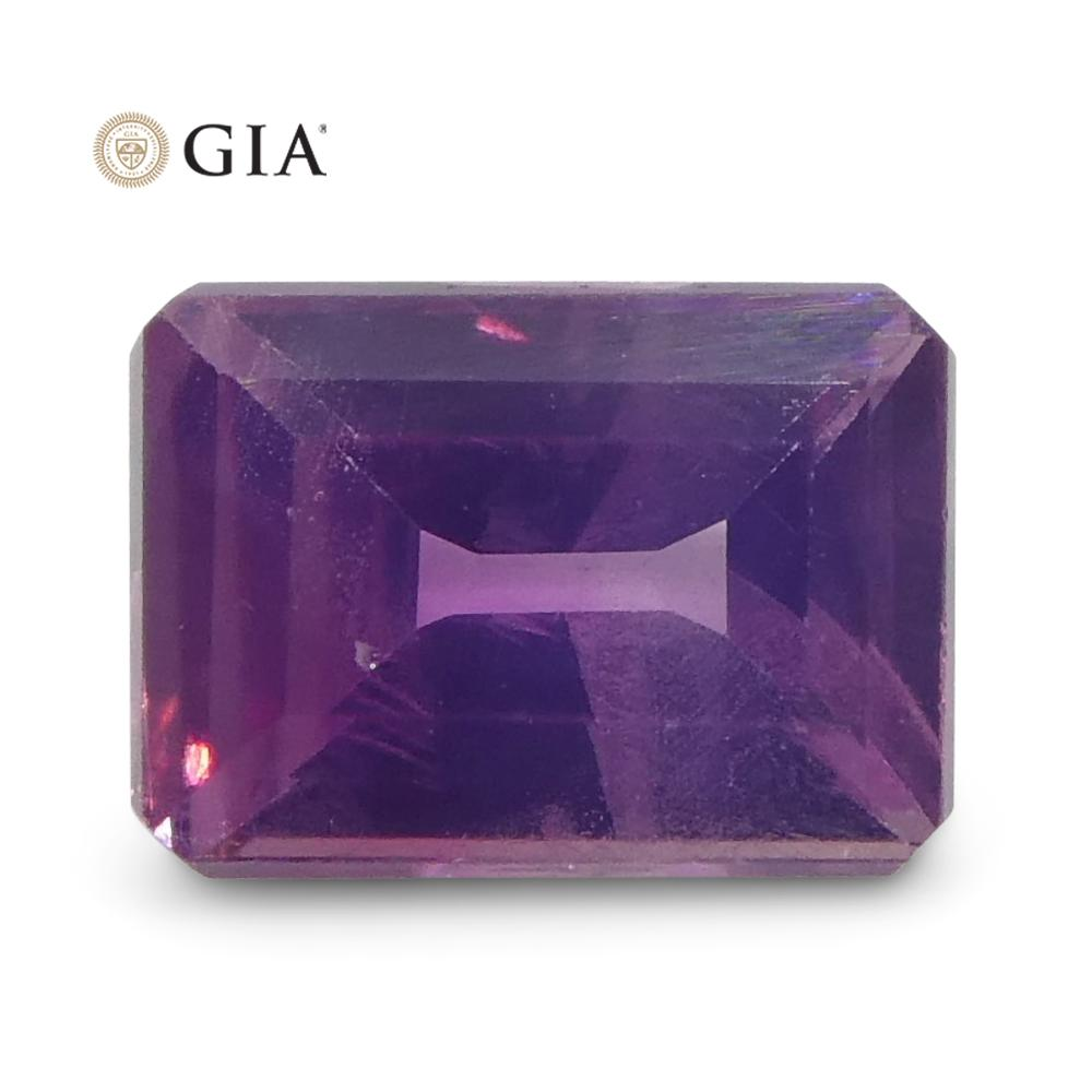 0.51ct Octagonal Pink-Purple Sapphire GIA Certified Pakistan / Kashmir Unheated