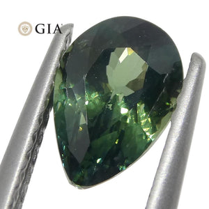 1.31ct Pear Teal Green Sapphire GIA Certified Unheated